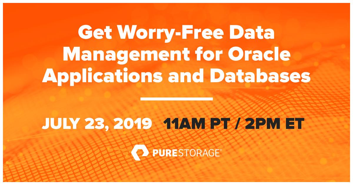 Join this webinar to discover how Oracle applications owners & DBAs can simplify daily operations & stop spending time on mundane tasks by choosing @PureStorage solutions to address demanding data-management challenges. bit.ly/32wGuAz