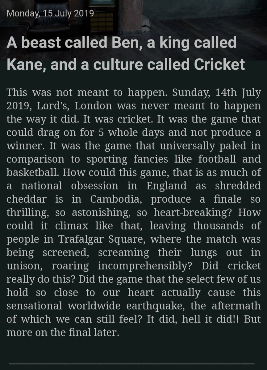 Here's my piece on the World Cup Final. I reflect about 2 heroes from both sides, the incredible final, and the ultimate winner - cricket.  Do read and share! :)   http:// willowzandcherries.blogspot.com/2019/07/a-beas t-called-ben-king-called-kane-and.html?m=1   …   #CWC19Final #ICCCricketWorldCup2019  #ENGvsNZ  @ESPNcricinfo @cricketworldcup @cricbuzz<br>http://pic.twitter.com/qJwp7ciAOc
