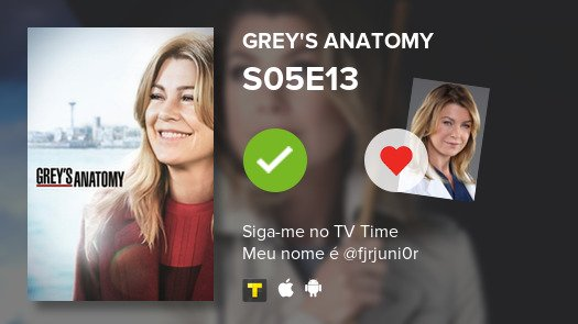 Acabei de assistir o episodio S05E13 de Grey's Anatomy #GreysAnatomy  #tvtime https://tvtime.com/r/16uk5