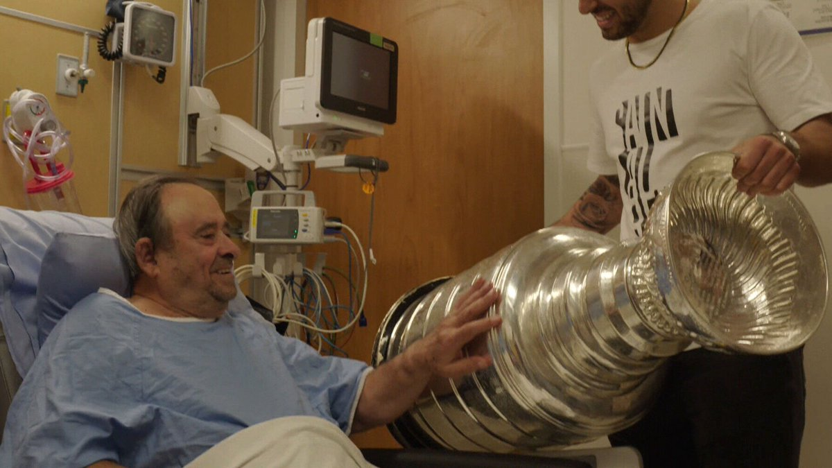 Robby Fabbri brings #StanleyCup to Mississauga hospital for visit with  nonno. WATCH @ https://www.bardown.com/robby-fabbri-brings-stanley-cup-to-mississauga-hospital-for-visit-with-nonno-1.1337797…