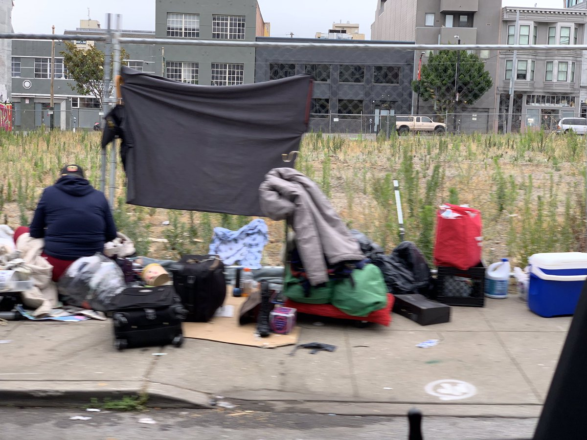So, in the perverse logic of #SanFrancisco,  temporarily cleaning up one encampment for a VIP visit, actually resulted in the creation of a second encampment, and both of them continuing to grow.  Natoma remains a magnet for trash and drug use.  That has not changed.  – at PRC