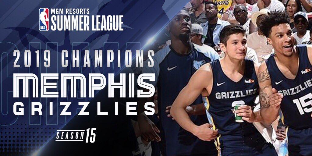 hey Siri. play 𝙏𝙍𝙊𝙋𝙃𝙄𝙀𝙎  by @Drake   The @memgrizz win the 2019 #NBASummer League Championship!  🏆🏆🏆🏆🏆🏆🏆🏆🏆🏆🏆🏆🏆 – at Thomas & Mack Center