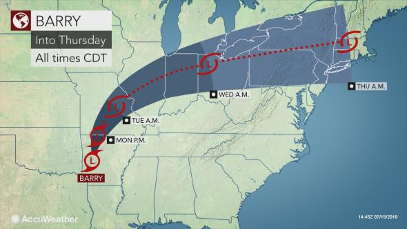 While Barry is expected to weaken to a tropical rainstorm on Monday, its bands of rain and thunderstorms will expand farther to the north into the mid-Mississippi and lower Ohio valleys: http://ow.ly/t0rv50v1e8D