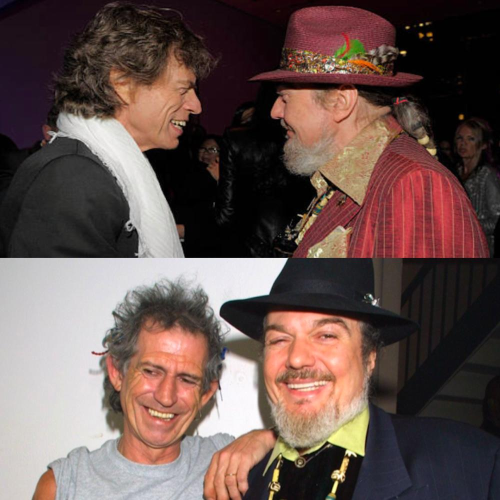 The Rolling Stones were longtime friends & musical collaborators with Dr. John. Above: Mick Jagger & Dr. John at the Exile on Main Street re-release. Below: Keith Richards & Dr. John at a Rainforest Alliance Concert. [Photos: Kevin Mazur / Getty] <br>http://pic.twitter.com/XGXSFVevJg