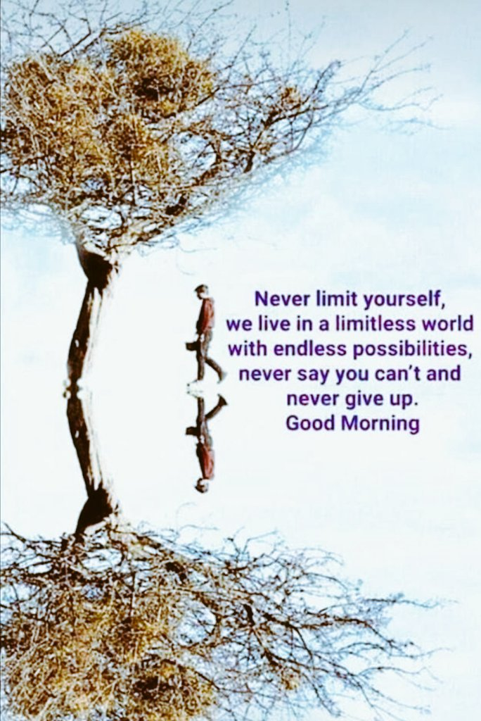 Never limit yourself, we live in a limitless world with endless possibilities. Never say you can't and never give up.   Good morning & Happy Tuesday...  <br>http://pic.twitter.com/Lj76XaCkmB