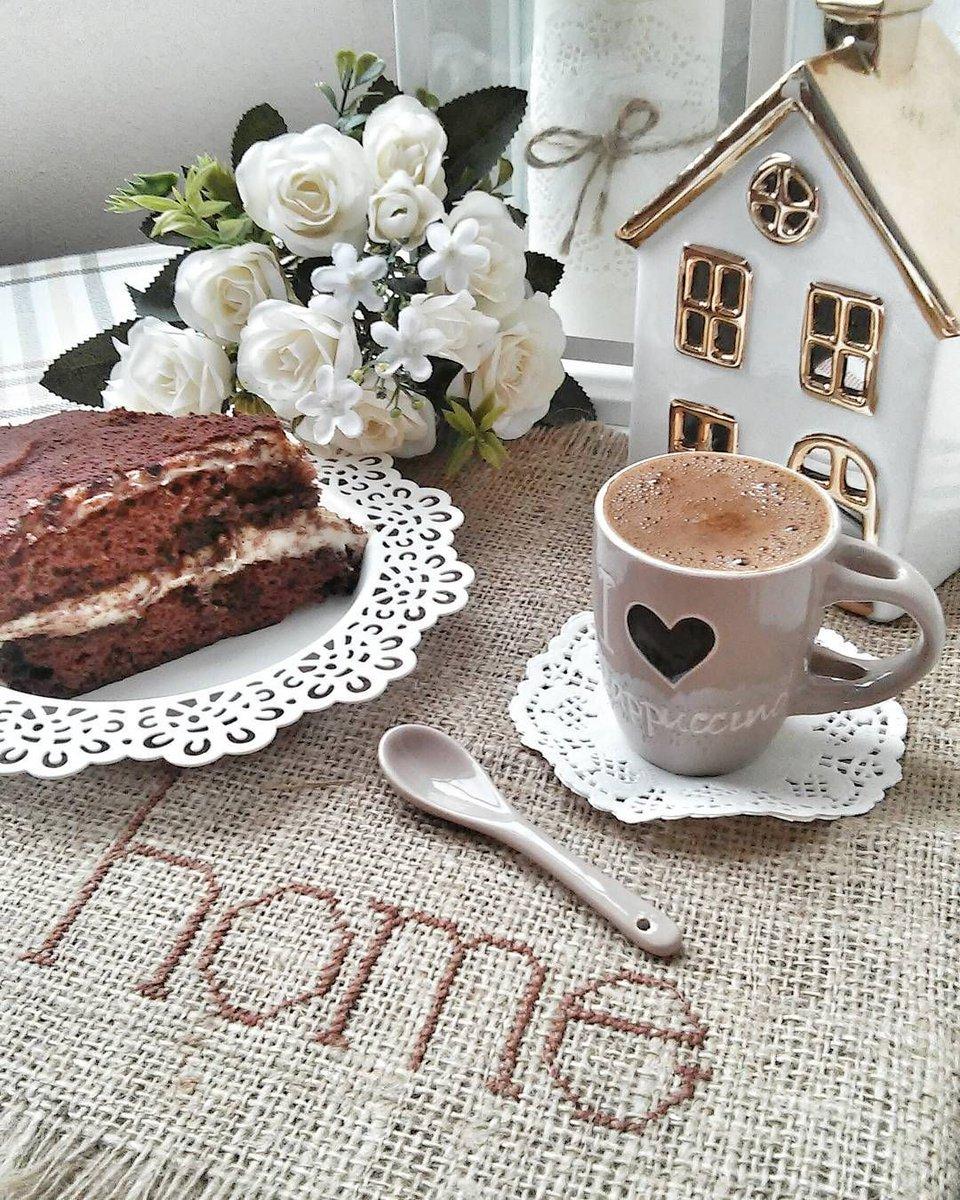Картинки с добрым утром с кофе и пирожными с надписью мужчине, подругу