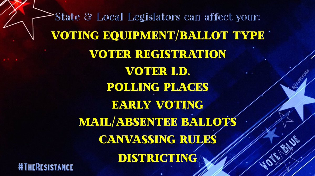 LOCAL ELECTIONS MATTER‼️ It's not just about Nov2020  Dems already lost local seats in 2019  Concerned about #HandMarkedPaperBallots, #VoterSuppression, etc? Then get out & #VoteBlue  Change is affected more easily & quickly at the local level  #VoteBlueNoMatterWho #TheResistance