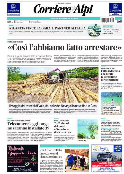 La prima pagina del Corriere delle Alpi oggi in ed...