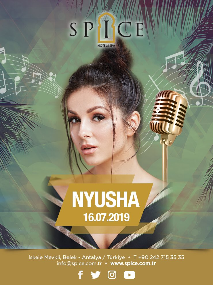 📣Are you ready for the wonderful night with Nyusha? Book your 🤩vip seat before it's too late... 🎤🎹🎧 #spicehotelbelek #enjoy #cancert #music #dance #belek #antalya #turkey