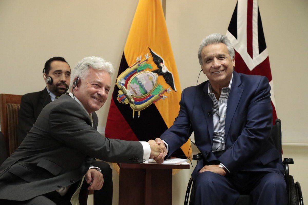 An excellent meeting with President @Lenin Moreno of Ecuador. We can look forward to improved relations between the UK and Ecuador. Lots for us to do together - on trade, human rights, environmental cooperation and more. <br>http://pic.twitter.com/c27IWfFo4w