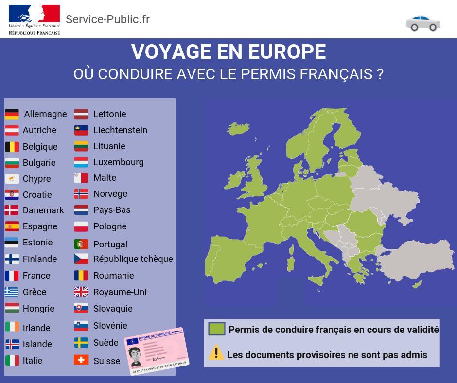 [#Voyage]Dans certains pays d'Europe, votre permis de conduire français suffit pour circuler.⚠️ Les documents provisoires ne sont pas admis⚠️ Le permis doit être en cours de validitéLes détails bit.ly/2MFYzbC Le point en image ⬇️ https://t.co/qyg6cNCeDU