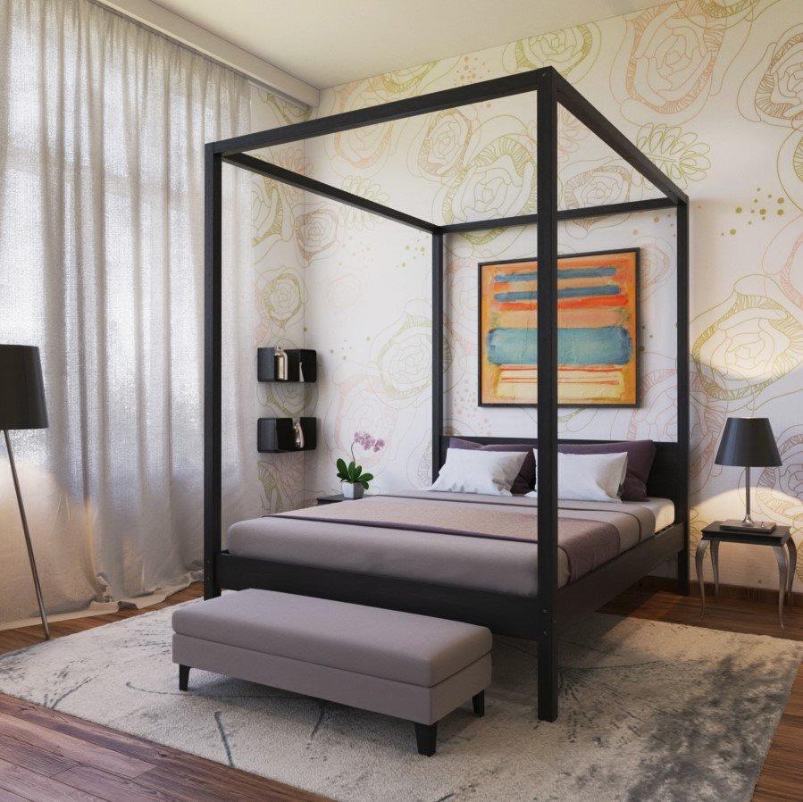 Lit baldaquin 160x200 cm ROMANCE pas cher bois massif colori ...