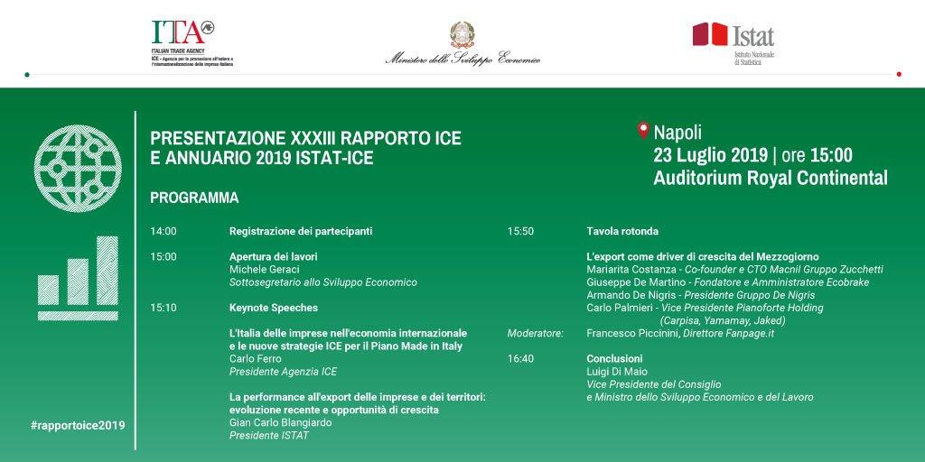 Presentazione #AnnuarioIstatIce e del #RapportoIce2019 il #23luglio a Napoli.  Per iscrizioni https://t.co/0d0gMYNDQ7