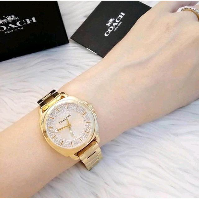 COACH - Almost too pretty to put down.  Model # 14501994 Price Rs.31,000  * 34 mm Case, PVD Gold plated * Analogue Quartz Gold Watch  #CoachNY #CoachPlatinum #CoachSS19 #BrandMerchants #AbouTime #pakistan #nishatemporium #PackagesMall