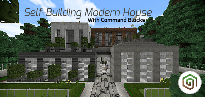 Self-Building Modern House [MAP] - Updated! - https://mcpedl.com/self-building-modern-house-map/… - By @CrackedCubes