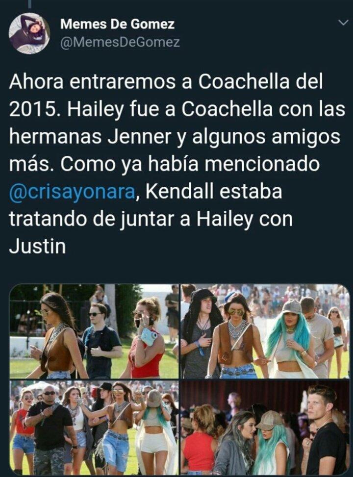 """En Coachella 2015: dice q Kendall quería """"juntar"""" a Hailey con Justin (q casi todos los días estaban juntos pues #bffs) como venganza por dejarla o algo asi, pero ellos NUNCA ESTUVIERON JUNTOS. Kendall salía con Harry. Justin fue con sus amigos y punto no hay venganza."""