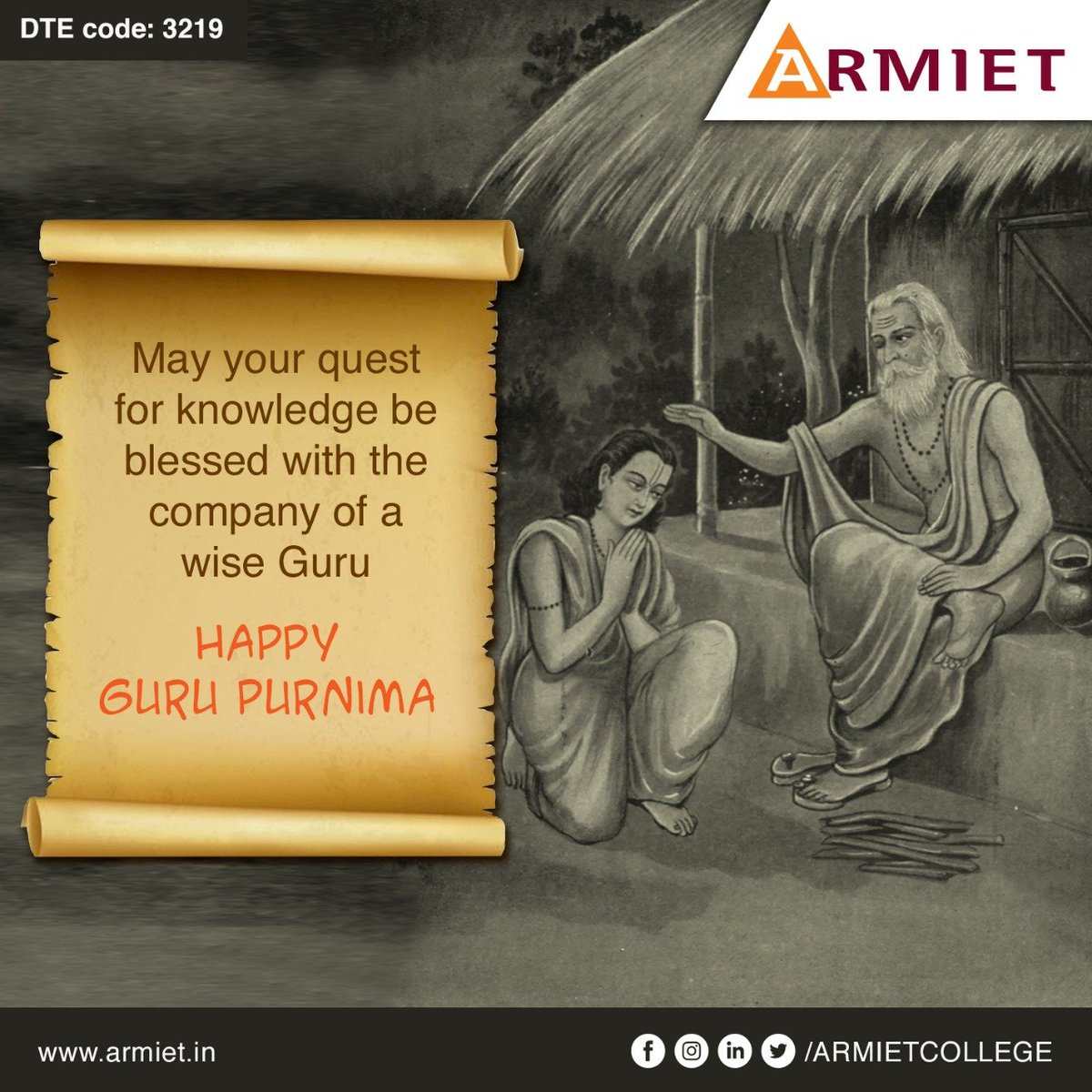 Acquiring valuable knowledge is essential for every individual who wishes to live with dignity.  Every individual needs a Guru who can be their dependable guide in their journey to wisdom.  Happy Guru Purnima  #armiet #engineeringcollege #happygurupurnima #knowledge #guru