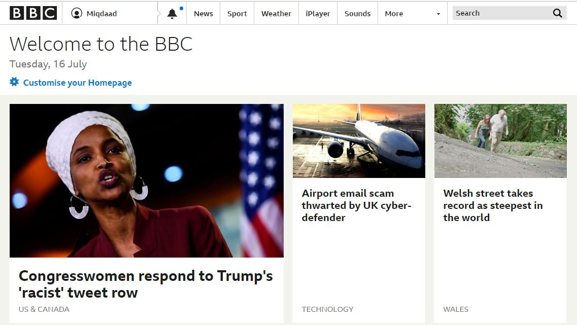 This is extremely poor from BBC (on the main bbc.co.uk website currently). Putting racist in inverted commas when referring to Trumps racist tweets is awful.