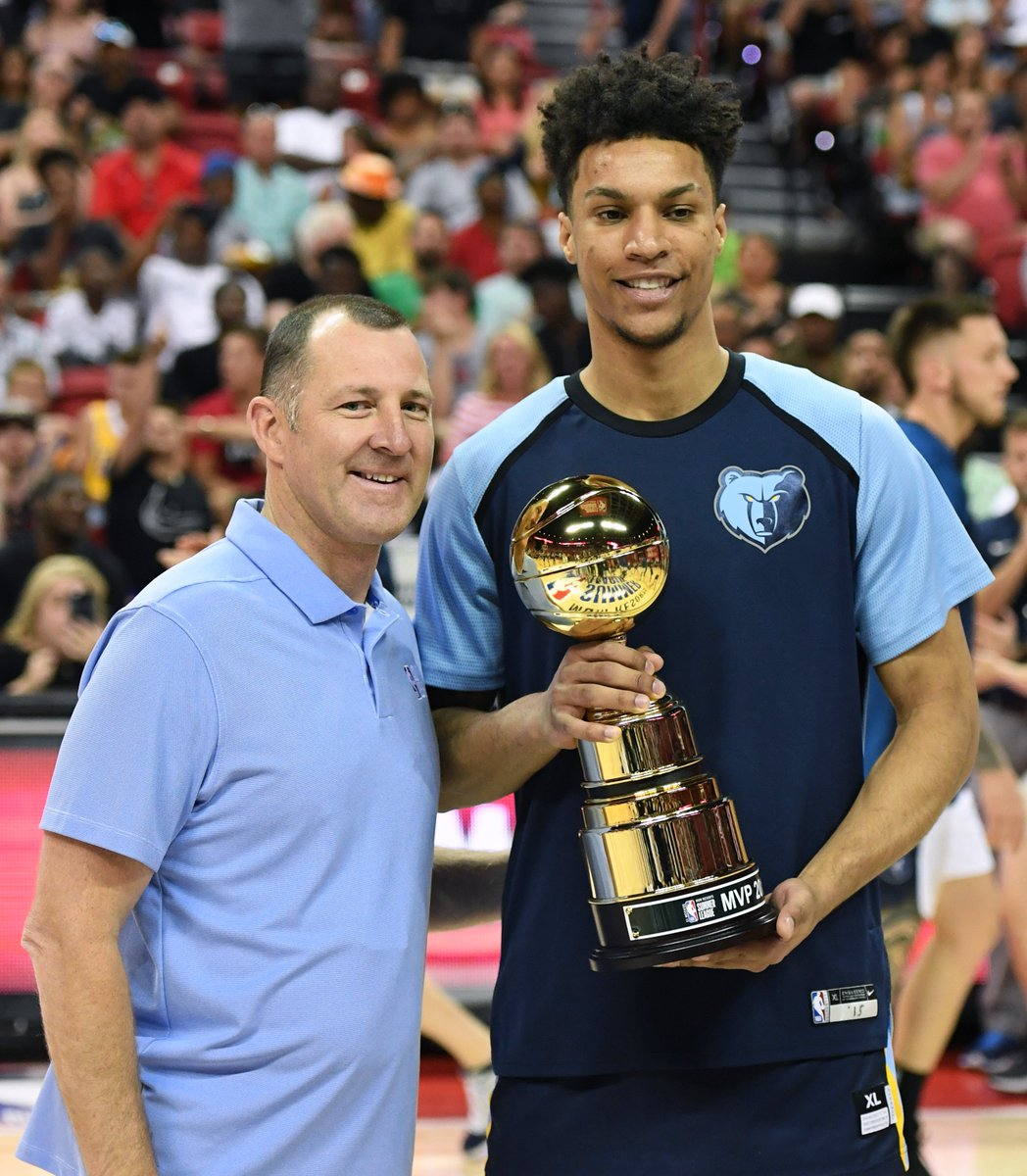 Brandon Clarke stacks up the hardware with the 2019 #NBASummer League MVP and the Championship Game MVP trophies! #NBARooks