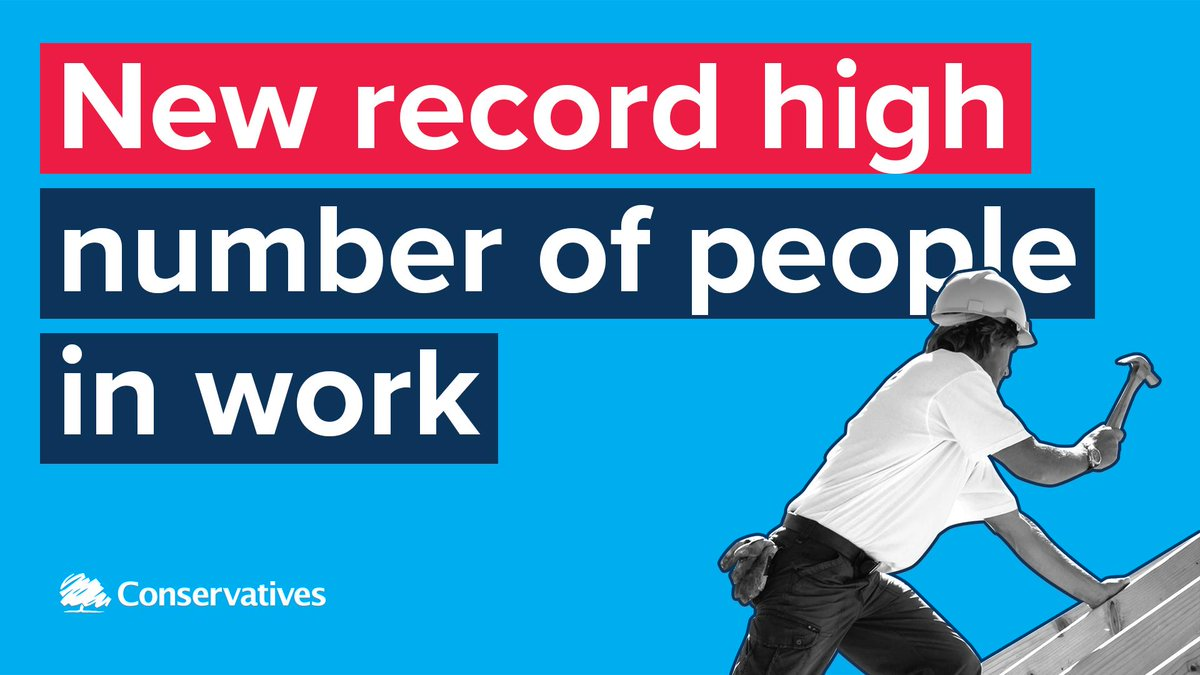 The latest @ONS UK job stats are out and there are two big new records: ⬆️ New RECORD high number of people in work 👨🔧 ⬆️ New RECORD high number of women in work 👩💼 ⬆️ Wages rising at fastest pace in 11 years 💷 💙 Spread the news 🔄