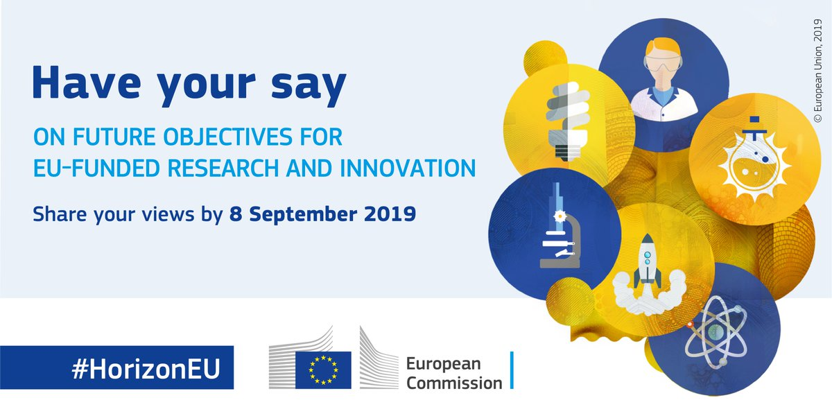 #𝗛𝗢𝗥𝗜𝗭𝗢𝗡𝟮𝟬𝟮𝟬  What do you think are the most pressing challenges #EUfunded research and innovation should tackle? 👨🏾‍🔬👩‍🔬  Share your views now➡️https://europa.eu/!Rc78Nj #HorizonEU #EUHaveyoursay🇪🇺   — Horizon 2020🇪🇺 (EU_H2020) July 16, 2019