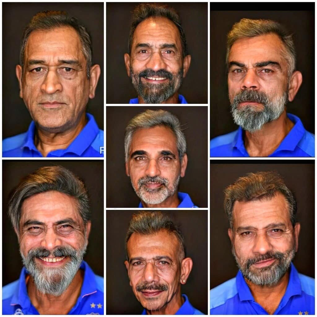 """This seems real!! Dhoni still calm and cool! Kohli have the same aggression in his eyes. Rohit got the same confidence that he can hit 200 any day. Look at Jaddu! Seems more like """"who called me bits and pieces again?"""" Chahal tab bhi podcasts karega! Bhuvi & Karthik so poise!"""