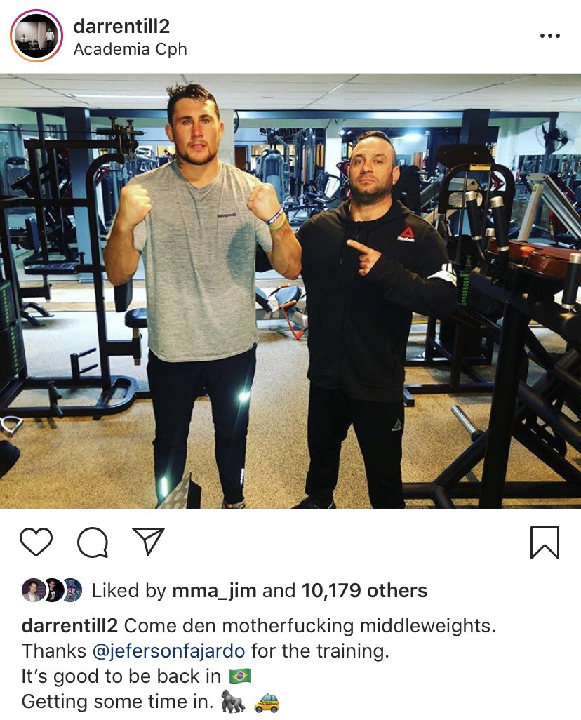 Darren Till has seemingly hinted his next fight will be at middleweight. 👀  He would be a welcome addition to the division and I believe he'd benefit from not having to make the gruelling cut to 170.   Also, I love he signs off most of his Insta posts with taxi emojis. 😂  #UFC