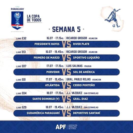 Copa Paraguay 2019 Programaciones 32°avos de Final.