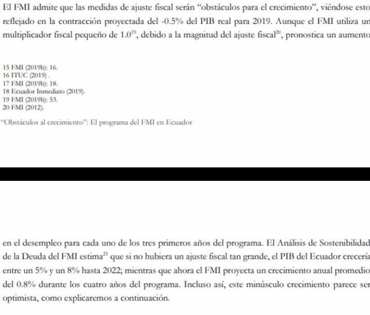 El FMI reconoce que con su programa la economía ecuatoriana decrecerá, pero sin el programa hubiese crecido a tasas del 5 y 8%. Entonces... ¿para qué intervinieron???!!! No hay país que se haya desarrollado sin crecimiento económico. ¿Estamos locos? Por eso es ajuste inducido..