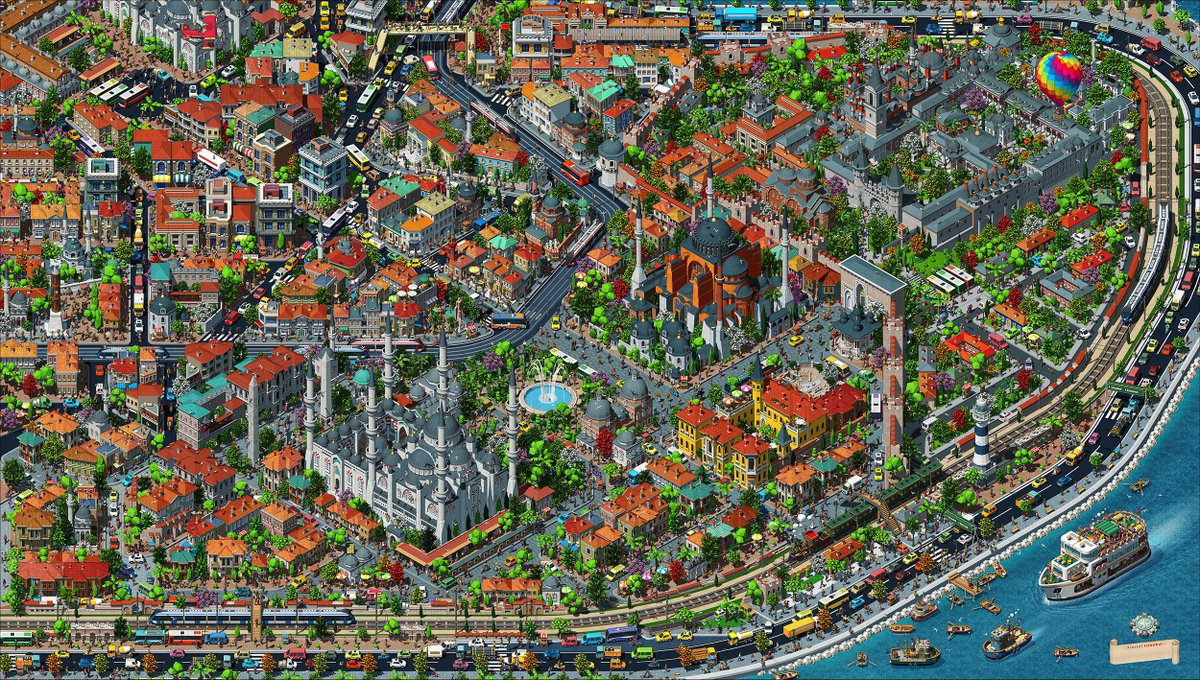 Istanbul's old town or historical peninsula in isometric map... <br>http://pic.twitter.com/W4invi3iuK