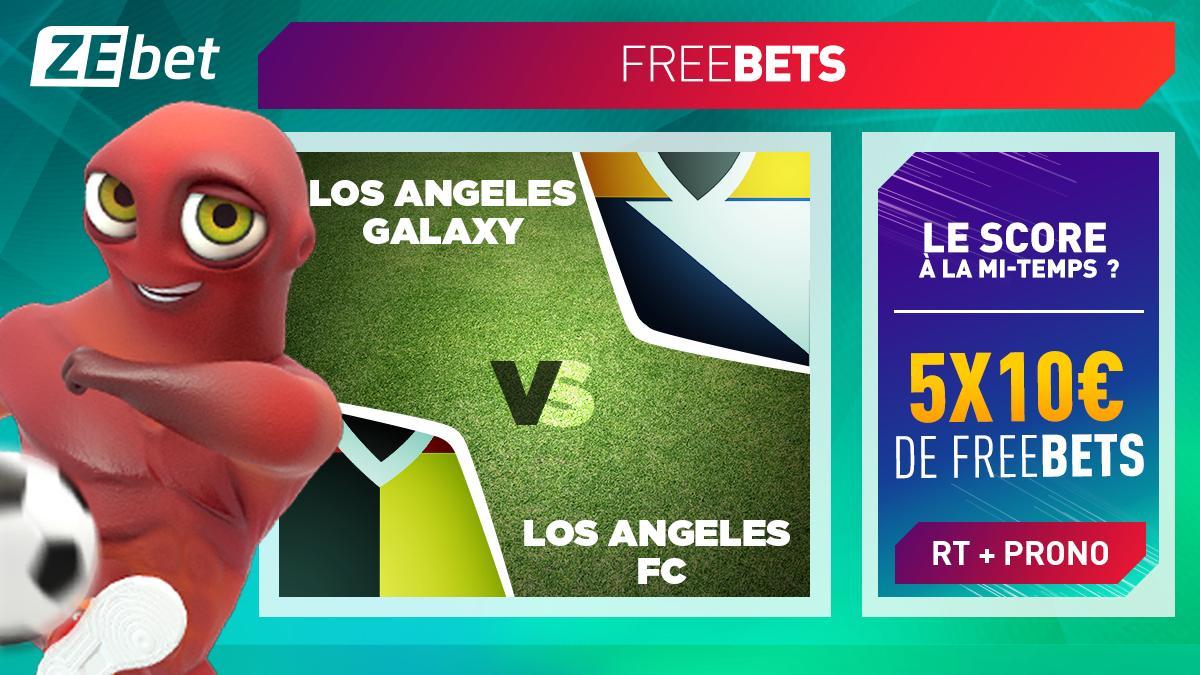 ⚽️ Le Derby de LA, cest cette nuit 🇺🇸👊 Sur ce choc entre #LosAngelesGalaxy et #LosAngelesFC, 5X10€ de #freebets sont en jeu 🤑 Pour participer 👉 1 RT + 1 prono sur le score mi-temps ! Conditions : bit.ly/2GfsCBl #TeamParieurs #MLS