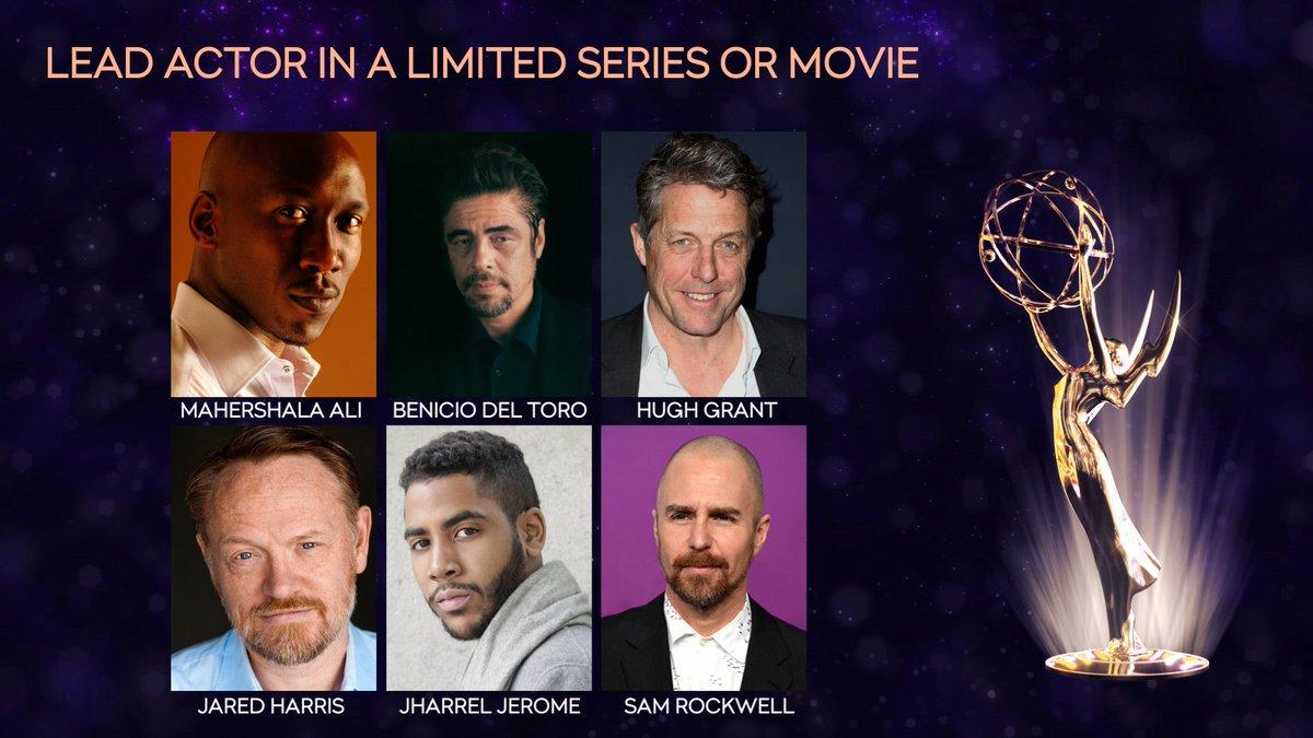 Lead Actor in a Limited Series: Mahershala Ali (@TrueDetective) Benicio del Toro (Escape at Dannemora) Hugh Grant (A Very English Scandal) Jared Harris (Chernobyl) @JharrelJerome (@WhenTheySeeUs) Sam Rockwell (@FosseVerdonFX) #Emmys @FOXtv