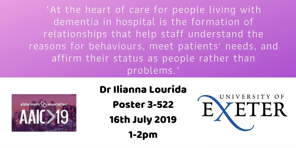 MT @EvidSynthTeam: Our Ilianna Lourida will be presenting preliminary findings from @NIHRresearch funded #systematicreview of improving the care of people living with #dementia in hosptial #AAIC2019 poster 3-522 1-2pm today! @ExeterMed @PenCLAHRC #exeterdementia @alzassociation