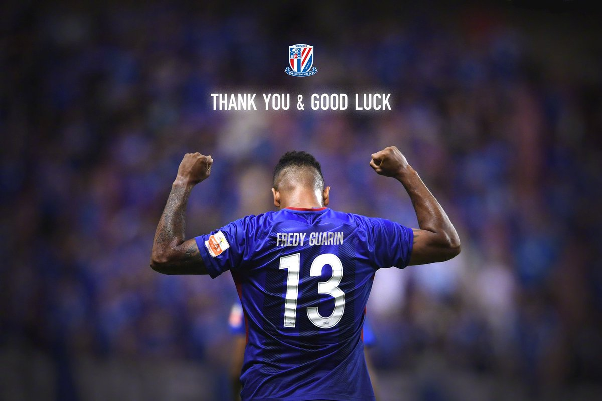 Thank you @fguarin13!! 100 appearances for Shenhua, the 3rd most among foreign players in the club's history. Good luck!! https://t.co/l0Wh2uIDYy