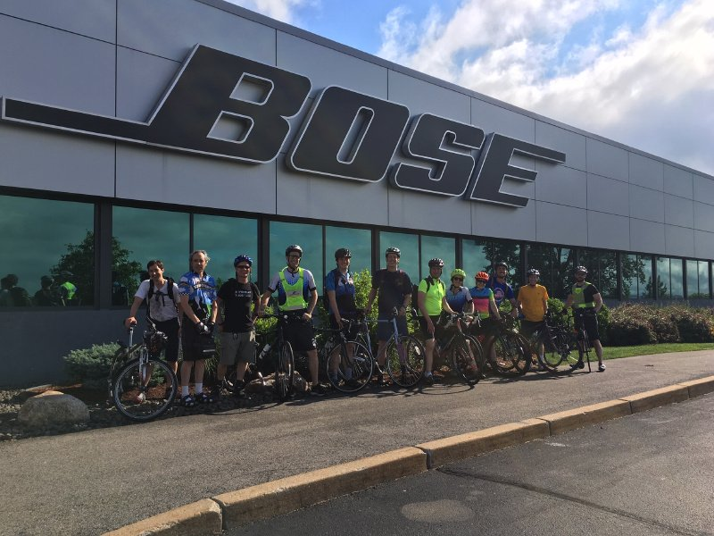 We hosted our very own Bose #BikeToWorkDay by riding up The Mountain at our Framingham campus! Employees who accepted the challenge celebrated with breakfast and some much-needed hydration post-commute. 🚴