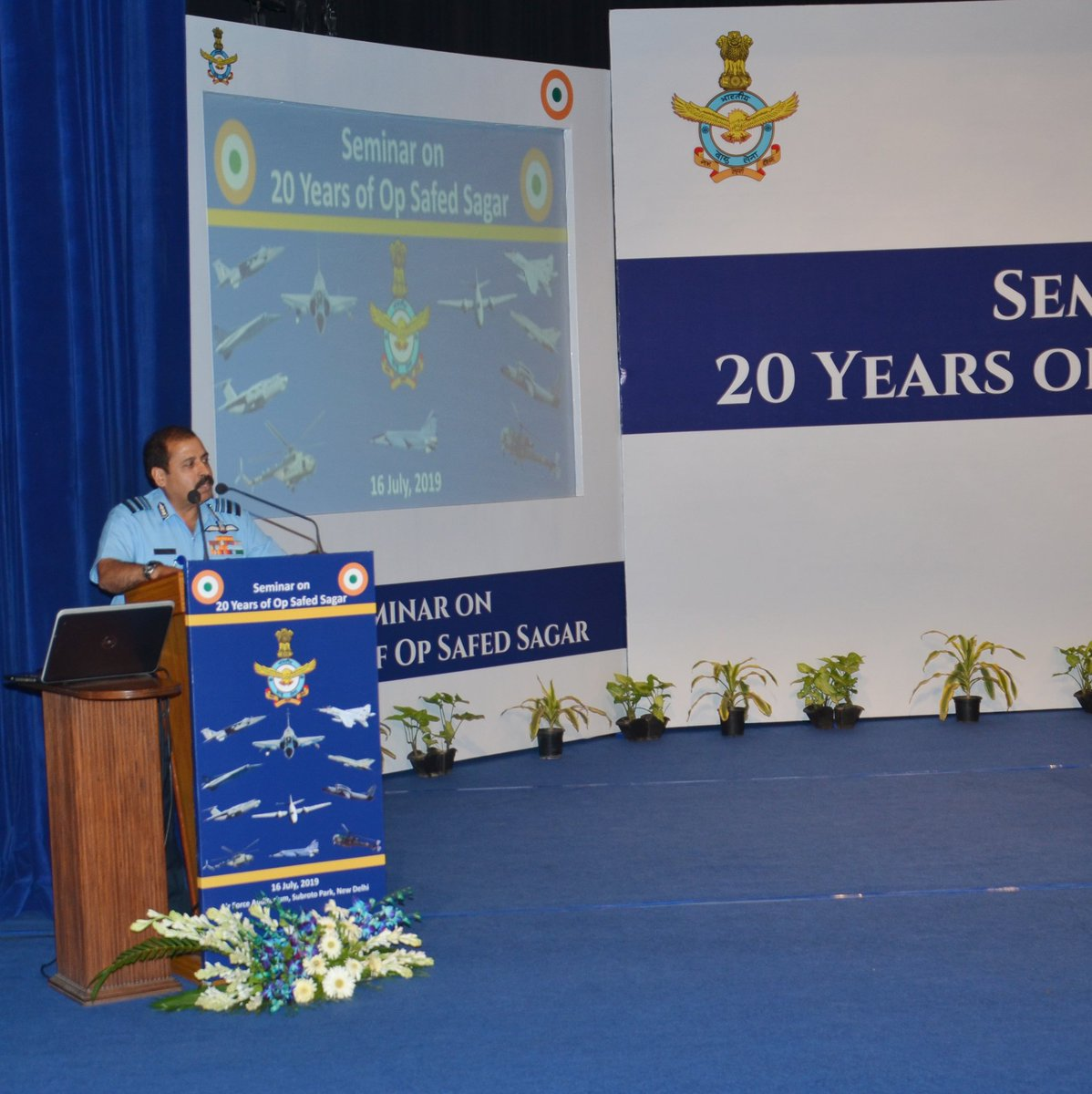 #RememberingKargil: Air Marshal RKS Bhadauria, Vice Chief of the Air Staff delivered the closing address during the Seminar on 20 Years of Op Safed Sagar held at Air Force Auditorium, New Delhi on 16 July 19.