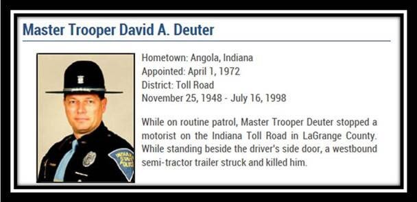 We are thinking of Master Trooper Dave Deuter and his family.  Please move over and slow down for flashing lights.