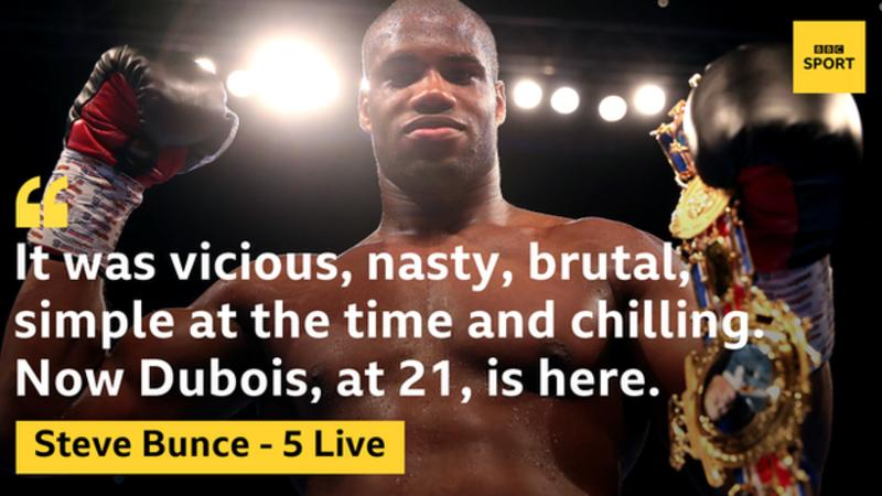 """Heavyweight knockout specialist Daniel Dubois could be """"something special"""" for British boxing. @bigdaddybunce and Mike Costello have had their say here ➡https://bbc.in/2YQCskm #bbcboxing"""