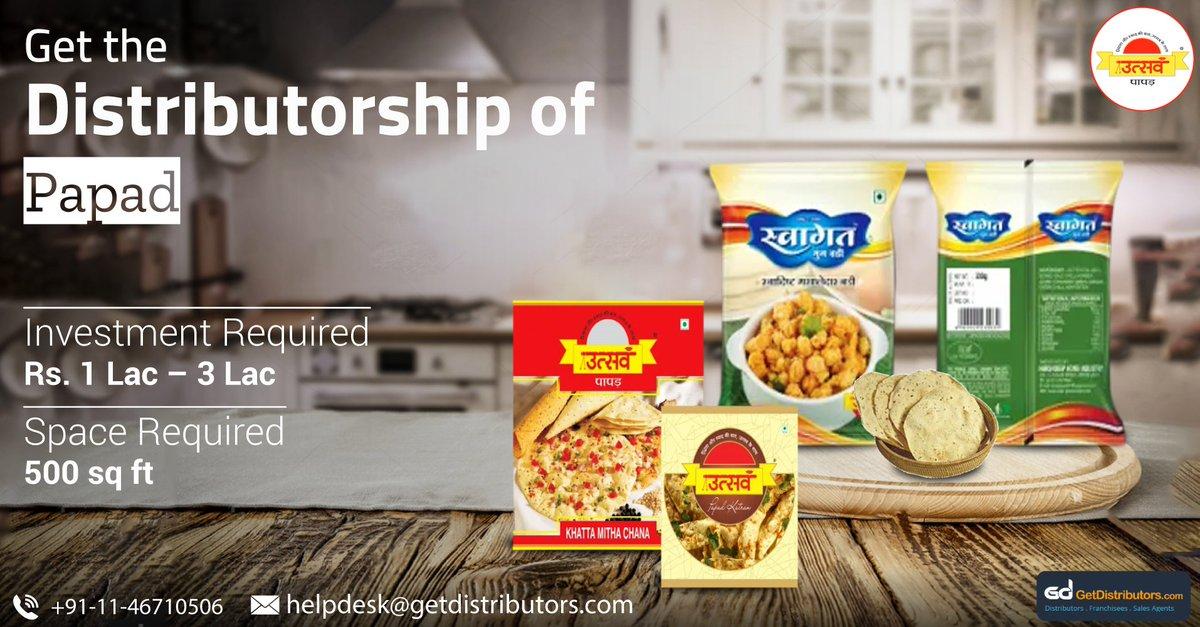 Get the #distributorship of #Papad such as Rice Papad, Papad Katran