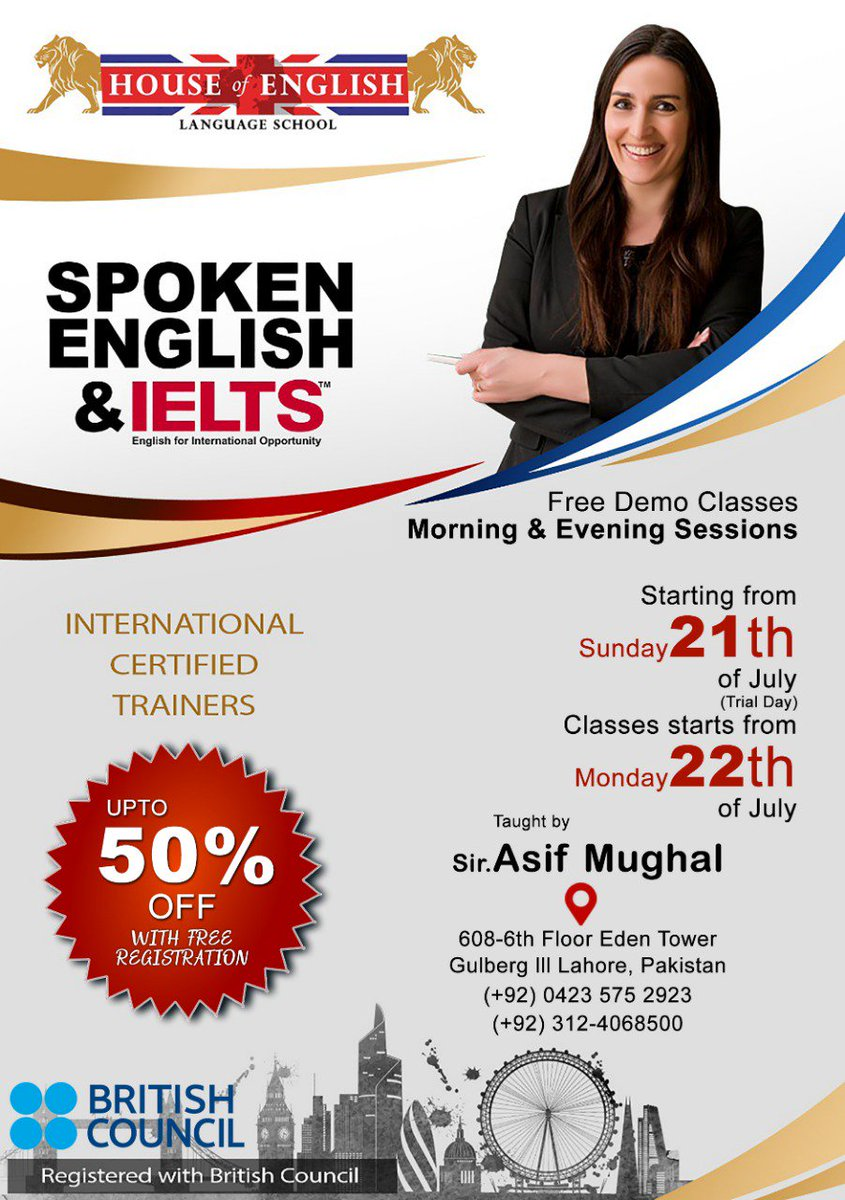 Teaching #IELTS for many years at our #UK #centres. We are now opening a centre in #Pakistan. Get early bird #discount (50%off)  #Limited #seats are #available!!!  for more information call us now!!!  (0423)-575-2923 92312-4068500