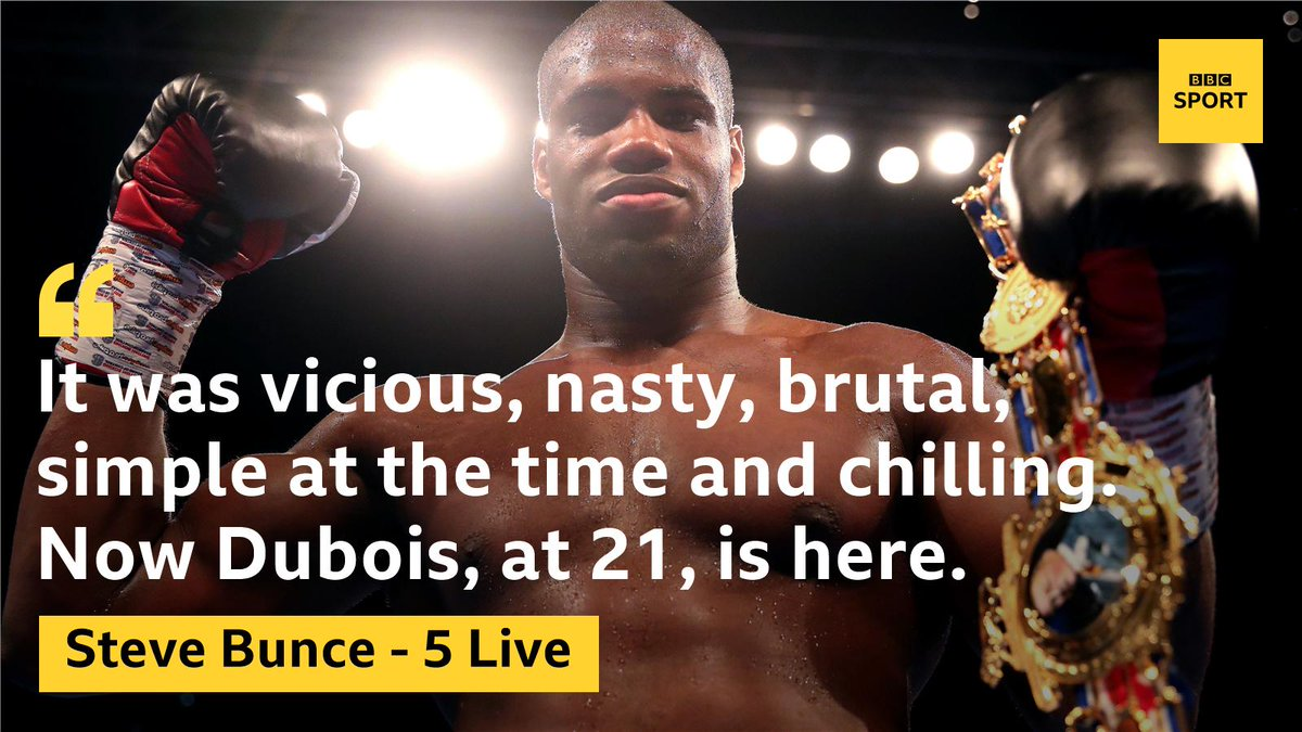 """Daniel Dubois could be """"something special.""""@bigdaddybunce has had his say.Promise with a touch of patience needed. In contrast, Mike Costello feels Joe Joyce is now ready for a world title shot.https://www.bbc.co.uk/sport/boxing/49001036…#boxing #bbcboxing #5liveboxing"""