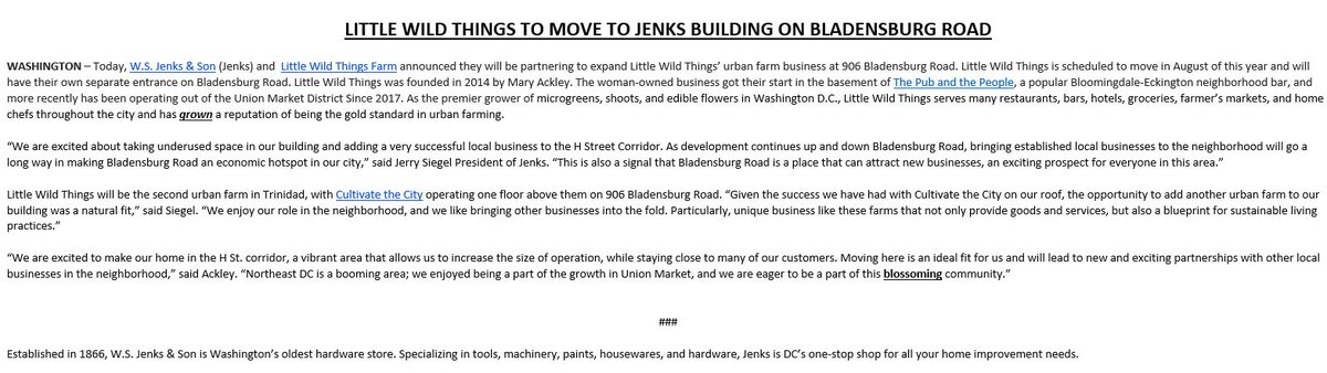 We are excited to announce that @lwtfarm is moving into our building. This is great news for @HStreetDC, Bladensburg Road, and the entire NE DC area.