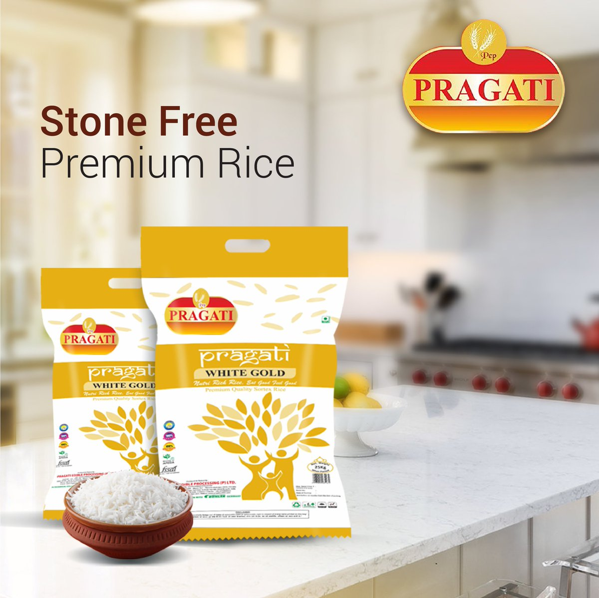 Pragati Rice is processed with care and cleanliness. Explore the exclusive variants of stone-free Pragati Rice only for you!  #Love #Care #Food #Rice #PragatiRice