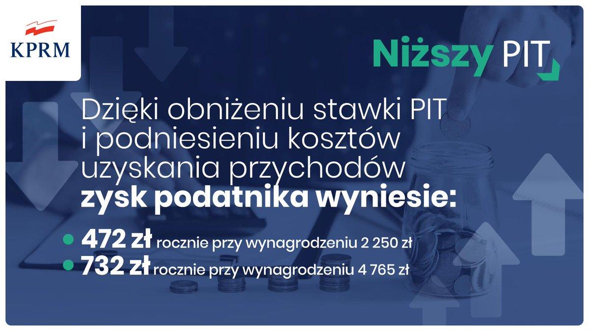 Premier @MorawieckiM: Obniżenie podatku PIT, podwyższenie kosztów uzyskania przychodu - to działania, dzięki którym w kieszeni każdego Polaka w ciągu roku zostanie kilkaset złotych więcej.