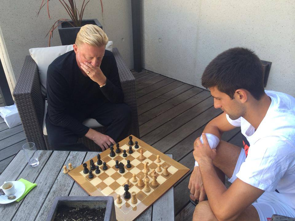 Did you know that the @Wimbledon hero Novak Djokovic @DjokerNole likes chess? Here he plays vs @TheBorisBecker in 2014.    via Djokovich Facebook.   #WimbledonFinal #tennis #Chess #DjokovicFederer #DjokerNole<br>http://pic.twitter.com/iNEZEBEdRR