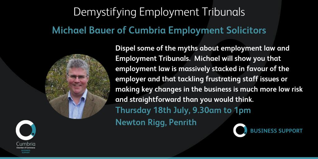 test Twitter Media - THIS Thursday - please book now if you wish to attend. Demystifying Employment Tribunals and Tips on Avoiding Them – workshop with Michael Bauer of Cumbria Employment Solicitors on Thursday 18th July, 9:30 am - 1:00 pm at Newton Rigg, Penrith. Booking at: https://t.co/N6q5QxWZ3O https://t.co/fkxpS3wqEm