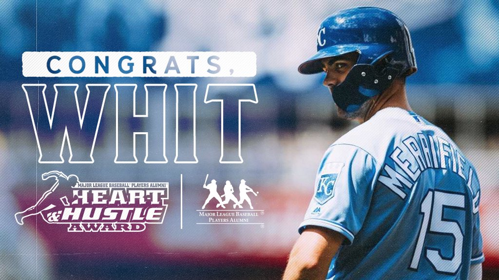 Congrats to Whit Merrifield on being named the club's recipient of the @MLBPAA #HeartandHustle Award.    #AlwaysRoyal  <br>http://pic.twitter.com/qDbSXrmoPq