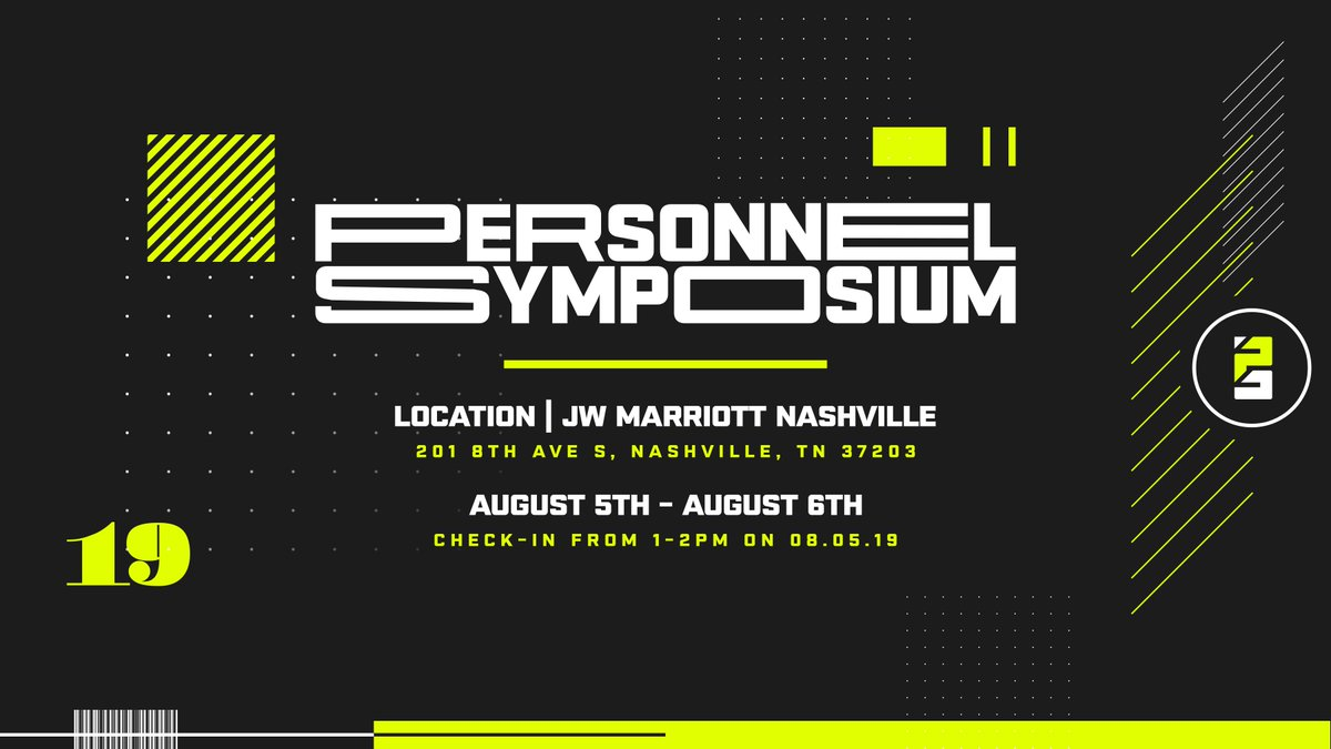 The 2nd annual Personnel Symposium is set for August in Nashville. Last year's event was fantastic. This year featured speakers include Mike Lombardi, Daniel Jeremiah and 247Sports' @sbterry247. Should be a great event.  https:// 247sports.com/Article/2019-P ersonnel-Symposium-information-schedule-133690395/   … <br>http://pic.twitter.com/hlIUqp0BC6