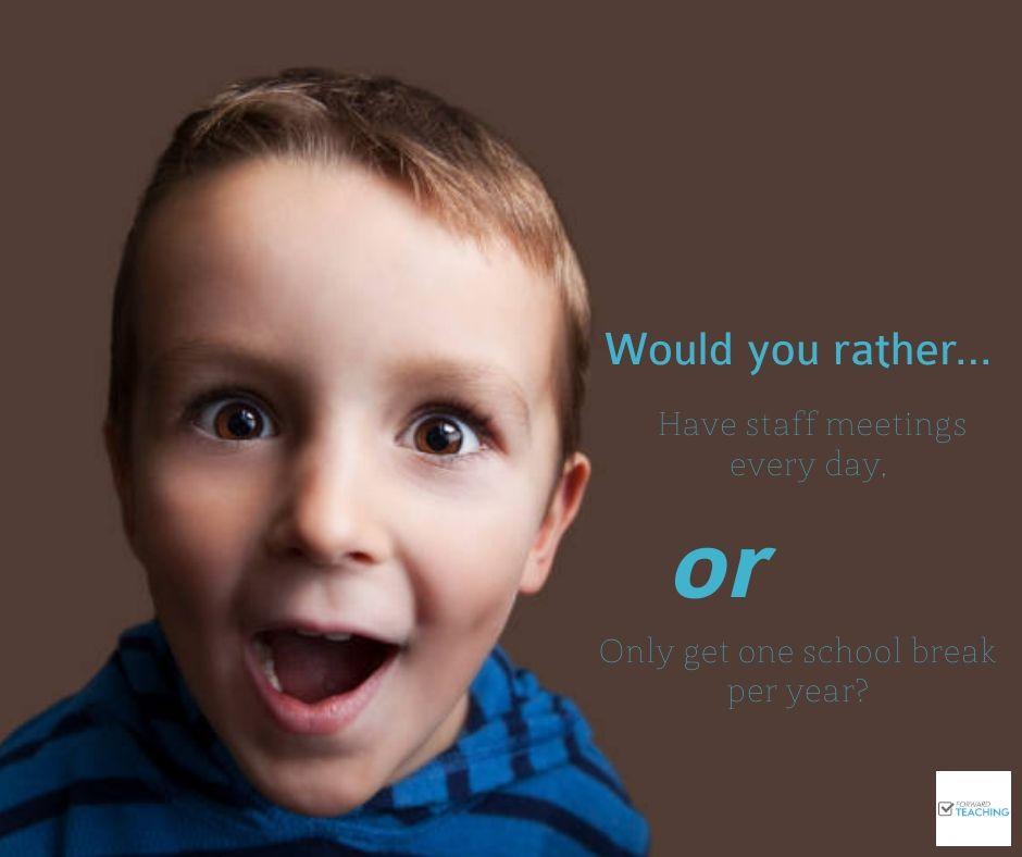 Time for a bit of #TuesdayTrivia 😄 What would you do if you had to pick one? 😂 #teacherlife #teachergoals #lovetoteach #education #teachersfollowteachers #primaryschool #instateachers #teacher #teacherblog