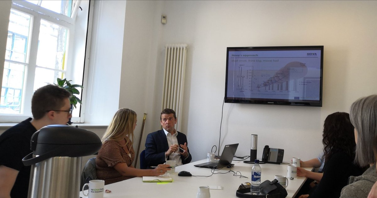 """.@NovaInnovation CEO Simon Forrest explaining company's """"start small, think big"""" philosophy to SR team in Leith this afternoon. Strong Scottish supply chain is """"vital to help us through the bumps"""""""